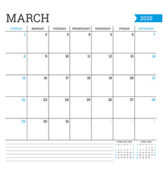 March 2020 square monthly calendar planner vector