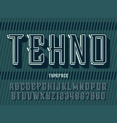 modern professional 3d alphabet tehno vector image
