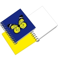 Notes with butterfly in color 05 vector image