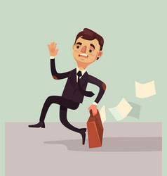 Office worker man character hurry and late vector