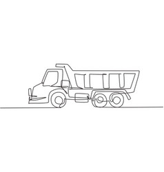 one single line drawing long trailer truck vector image