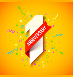 One year anniversary celebration card design vector