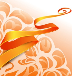 Orange ribbon on the abstract background vector image