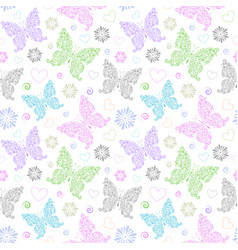 Pattern with floral butterflies vector