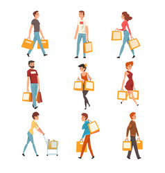 people with shopping bags set young men and women vector image