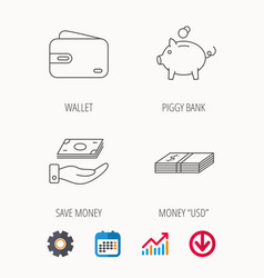 Piggy bank cash money and wallet icons vector