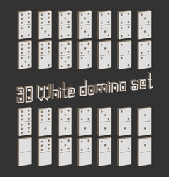 Realistic dominoes full set 28 3d flat pieces for vector