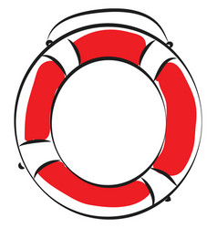 red and white live buoy on white background vector image