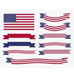 Red white blue american flag ribbon and banner vector image