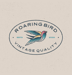 Roaring bird vintage retro tattoo logo icon vector