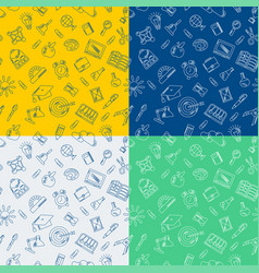 school supplies handdrawn seamless pattern vector image