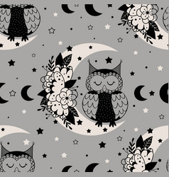 seamless pattern with floral moon and owl vector image