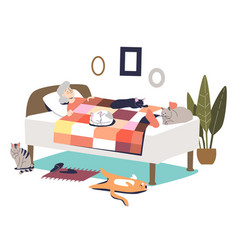 Senior woman sleeping in bed and cats around cute vector