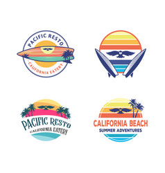 set logo designs owl surfing logo design vector image