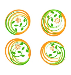 set of a green icons vector image
