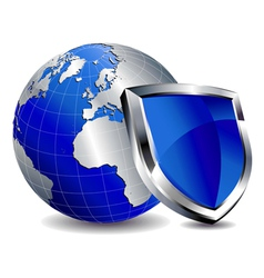 Silver Shield Protection with Silver World vector image