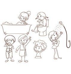 Simple sketches of the people taking a bath vector