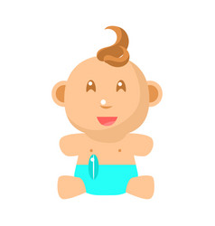 small happy baby sitting in blue nappy vector image