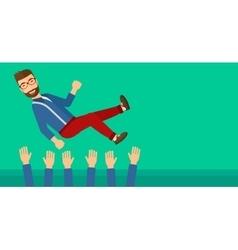 Successful businessman during celebration vector image