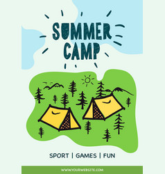 summer camp poster tent campfire pine forest vector image