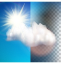 Sun with cloud floats in the sky EPS 10 vector image
