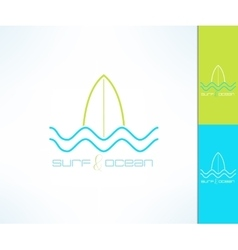 Surfing company label logo made in modern vector