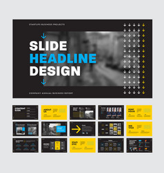 template black slides for presentation with vector image