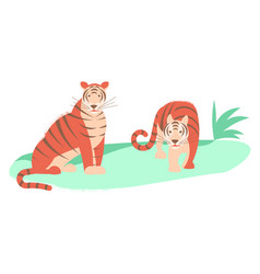Two tigers isolated vector