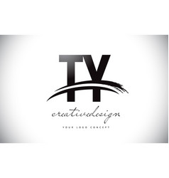 Ty t y letter logo design with swoosh and black vector