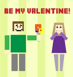 Valentine day postcard with square boy and girl vector image vector image