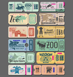 Vintage tickets of zoo animals and fish vector