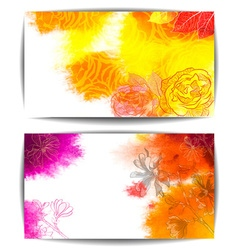 Watercolor Banners with Floral Design vector image
