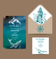 Wedding card with whale colorful vector