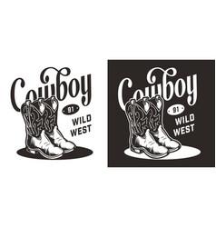 wild west vintage monochrome emblem vector image