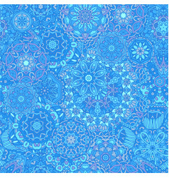 winter snowflakes damask flower seamless pattern vector image