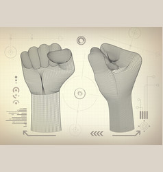 Wireframe fist vector