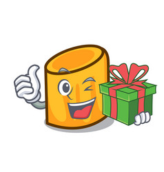 With gift rigatoni mascot cartoon style vector