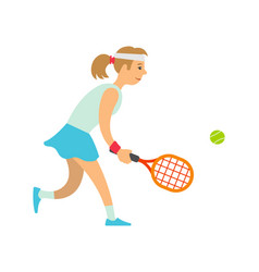 women playing tennis lady holding racket vector image