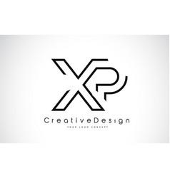 Xp x p letter logo design in black colors vector