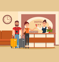 Young couple at hotel reception clerk standing vector