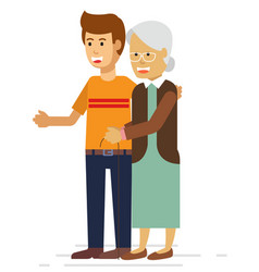 young man helping an elderly woman with a walker vector image
