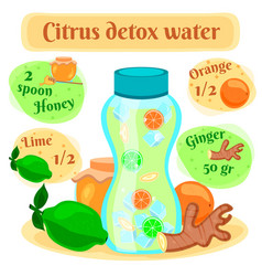 detox water recipe flat composition vector image vector image
