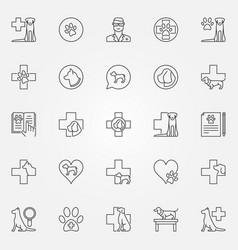 dog veterinary icons set vector image vector image