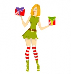 girl santa helper vector image vector image