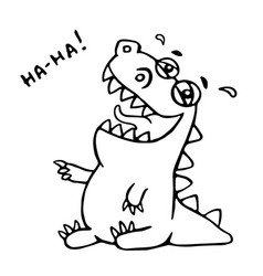 laughing dinosaur vector image vector image