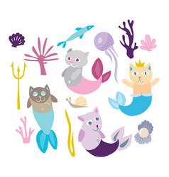 little mermaid kitten collection kitty cat with vector image