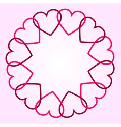 Round background with hearts vector image vector image
