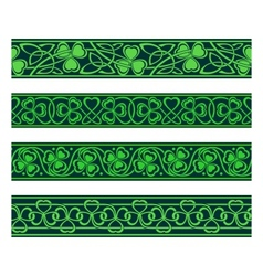 seamless borders with shamrock vector image vector image