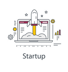 business startup rocket and laptop vector image vector image