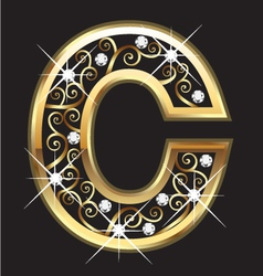 C gold letter with swirly ornaments vector image vector image